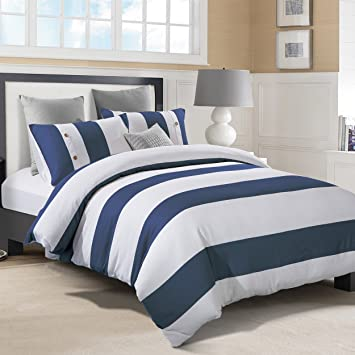 Butch C. reccomend Navy blue and white strip bedding
