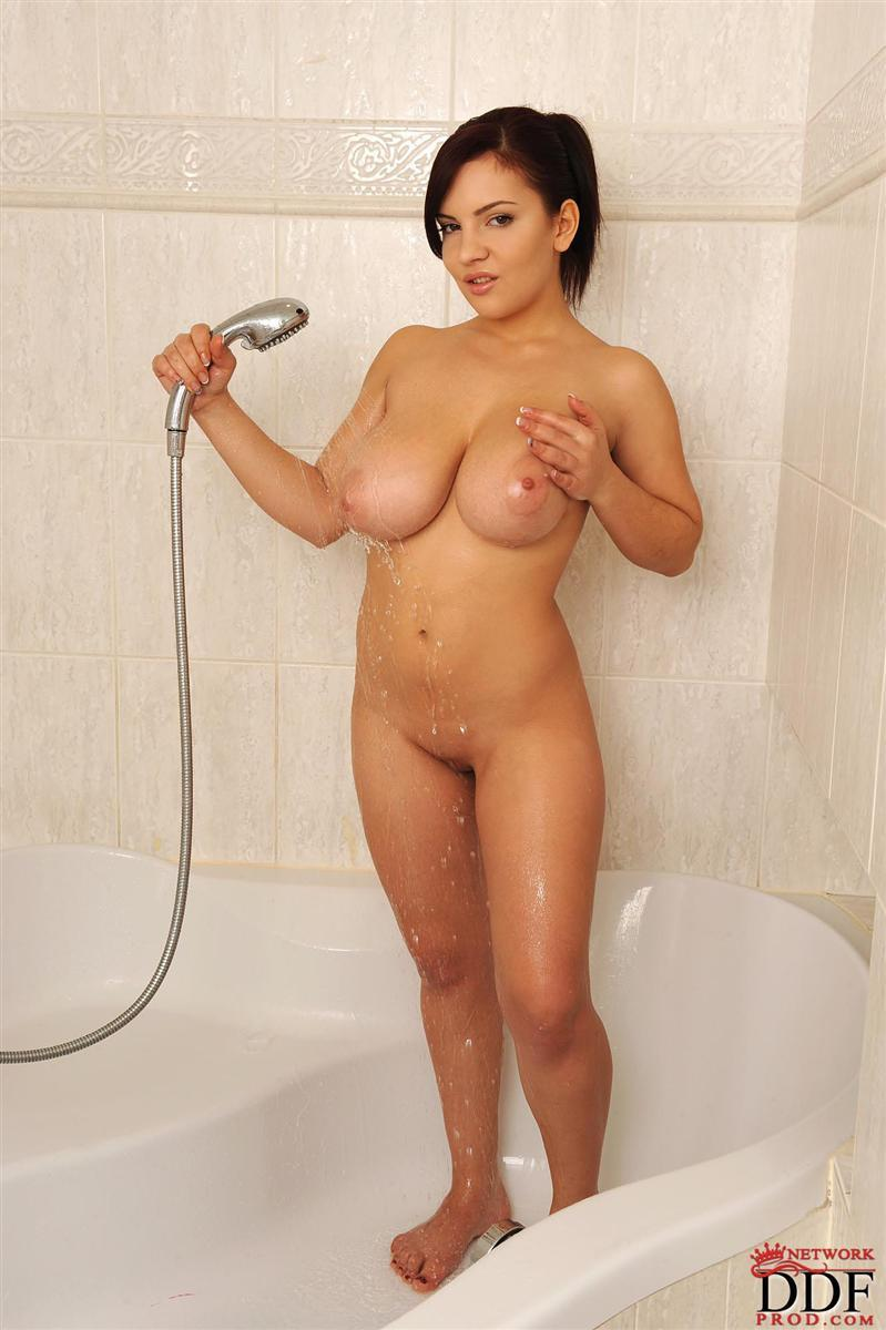 Fake tits in shower