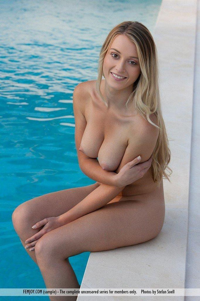 Busty blonde naked