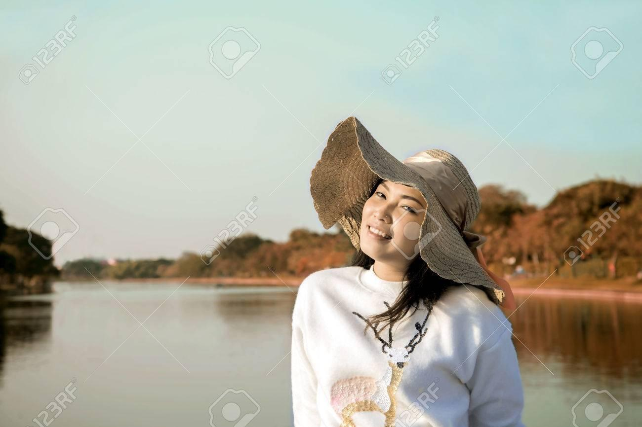 Asian girl lake