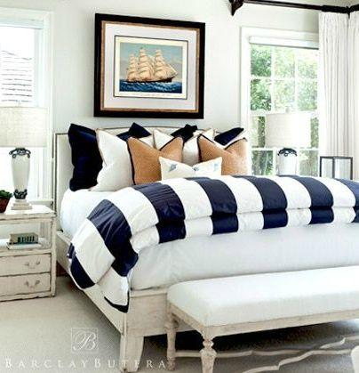 best of Bedding strip white Navy and blue