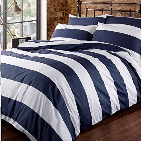 Navy blue and white strip bedding