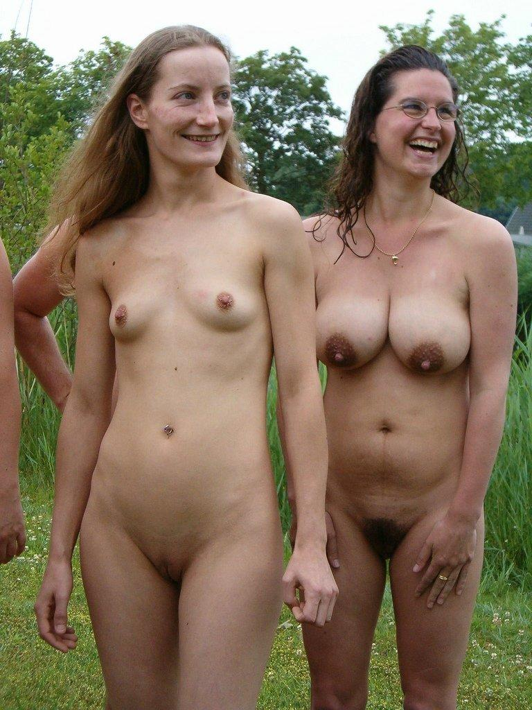 outdoors Average people naked