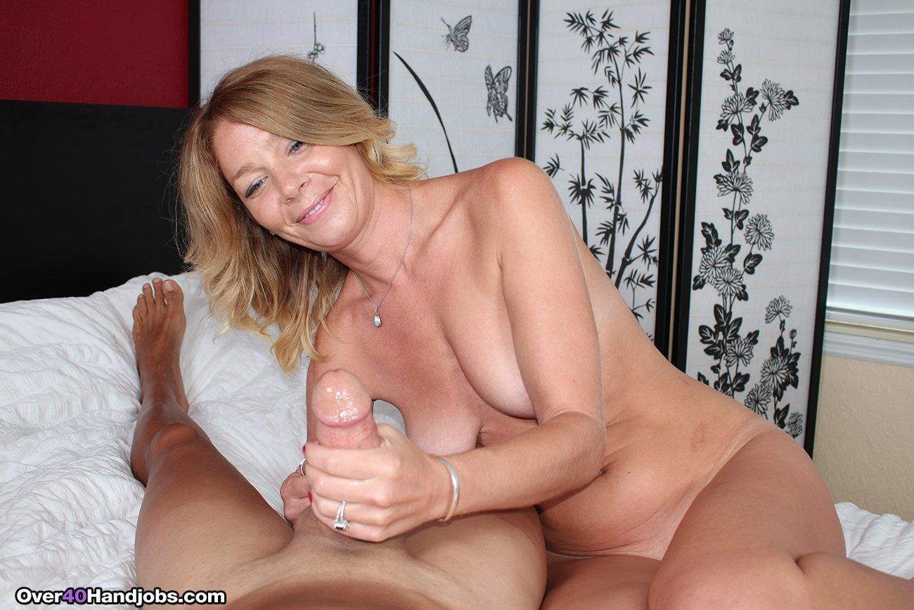 Moms handjob son to jerk off