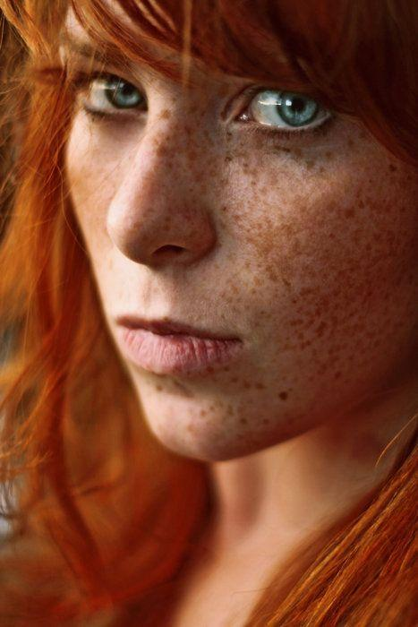 with Topless freckles redhead