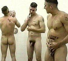 Military men nude shower