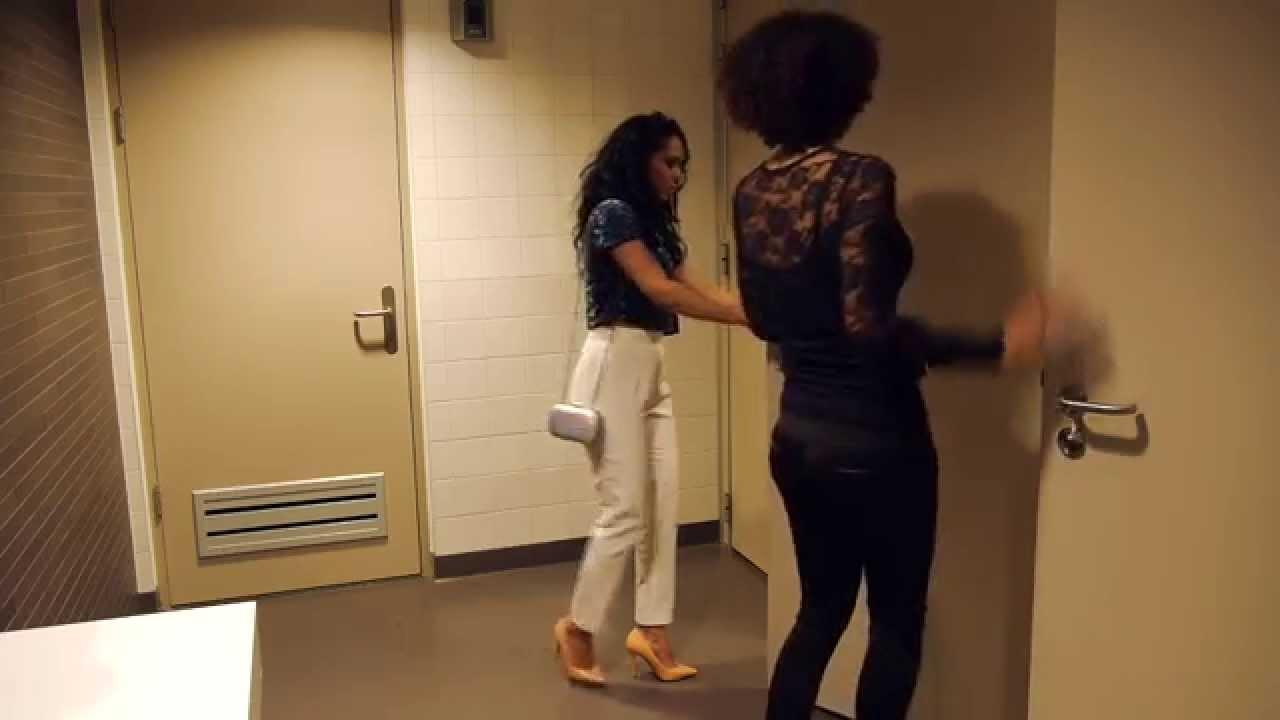 Girls on public toilet peeing